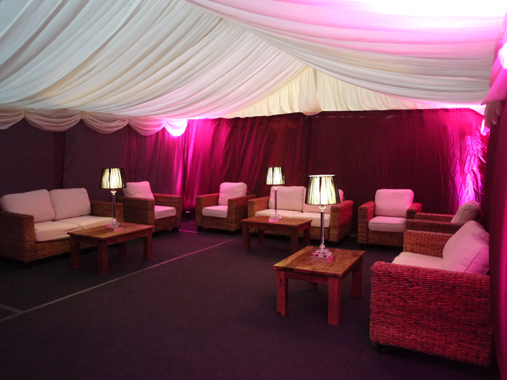 Marquee chill out lounge area