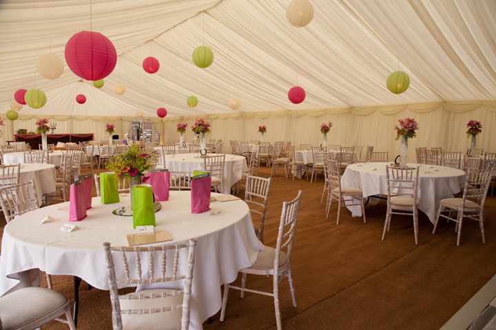 Decorated wedding marquee Hightworth Wiltshire